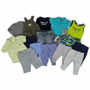 Baby Boy Lot of 16 Pieces Pants Outfits Bodysuits